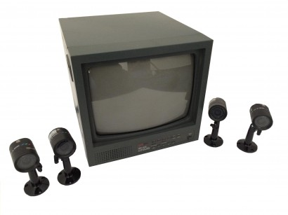 santec komplettsystem color video berwachung 4 x ir kameras monitor kabel set ebay. Black Bedroom Furniture Sets. Home Design Ideas